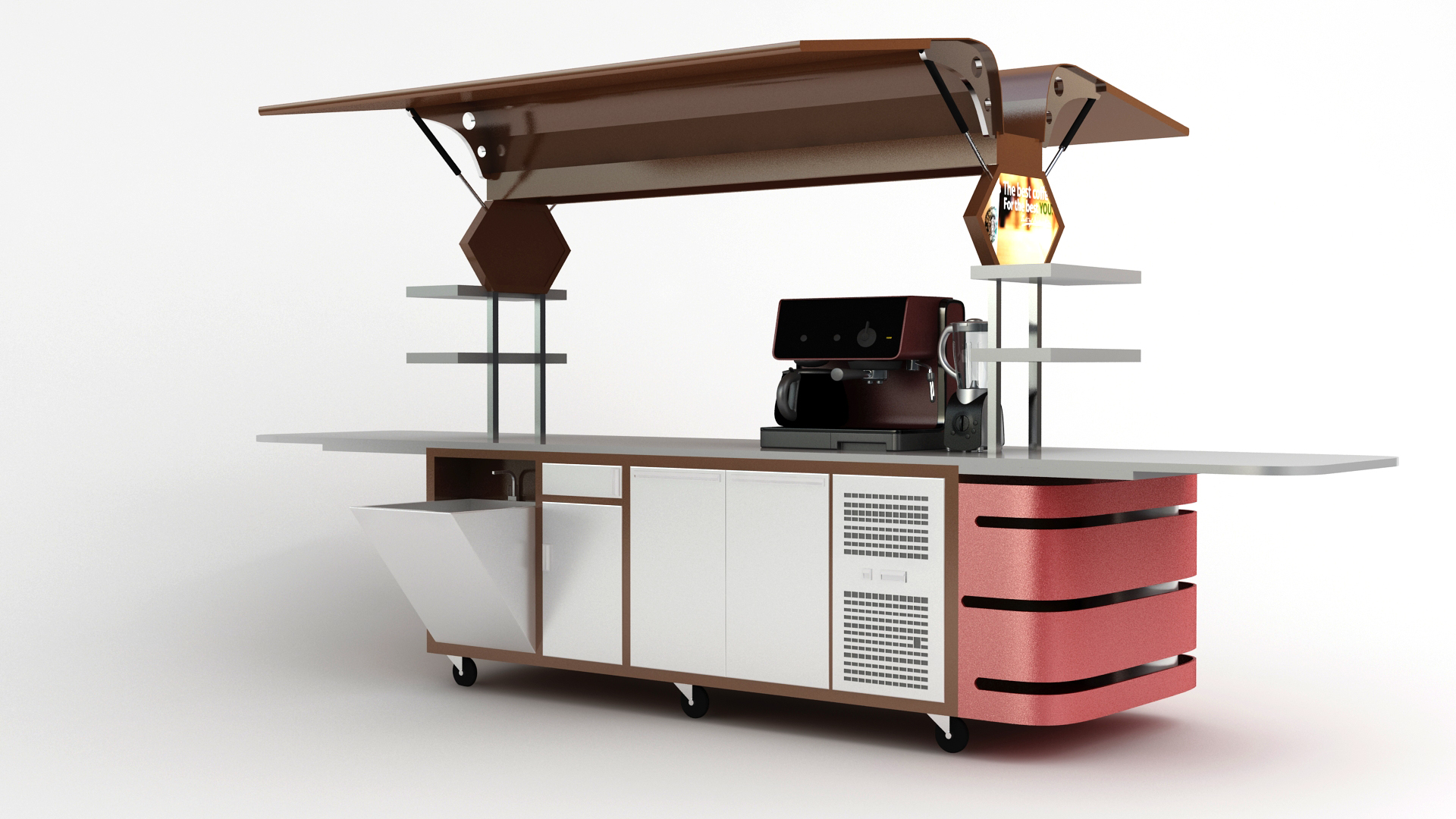 Large coffee carts x line closeable carts australia for Coffee cart design