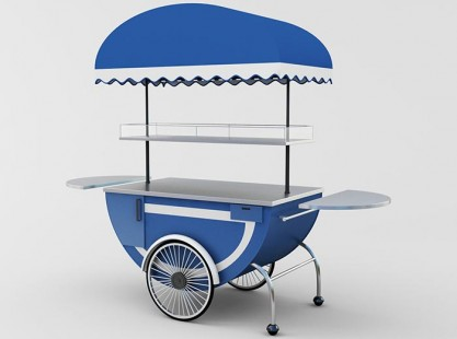 Merchandising Cart Model E Blue