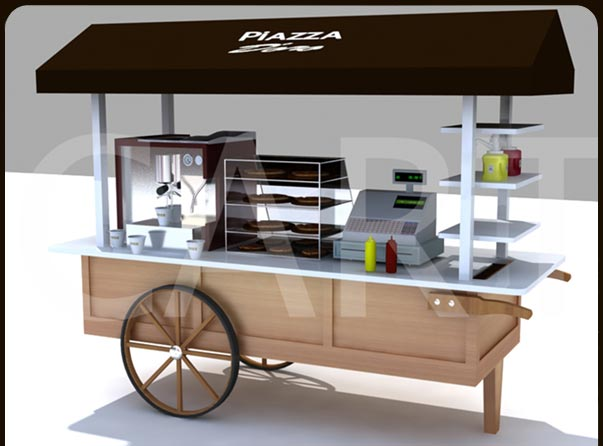 Small coffee carts x line wooden kiosk carts for Coffee carts for office