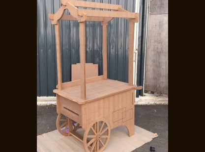Wooden Merchandising Cart