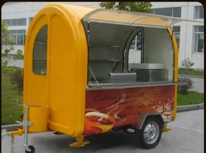 Yellow Side Lift Coffee Trailer