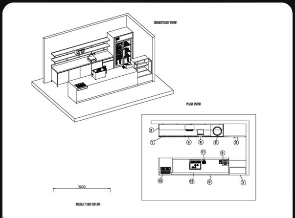 Food kiosk coffee kiosk specifications by carts australia for Coffee shop floor plan with dimensions