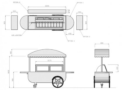 Large Gelato Cart DIM Model 2