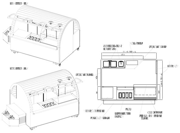 Coffee vans food vans trailers and drivers carts for Food truck design layout