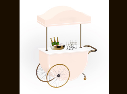 Curved Beverage Cart