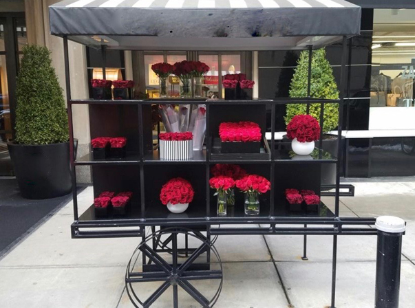 Black Steel Flower Cart