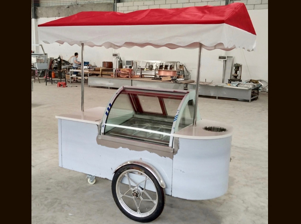 Gelato Cart 6 tray with Set down glass
